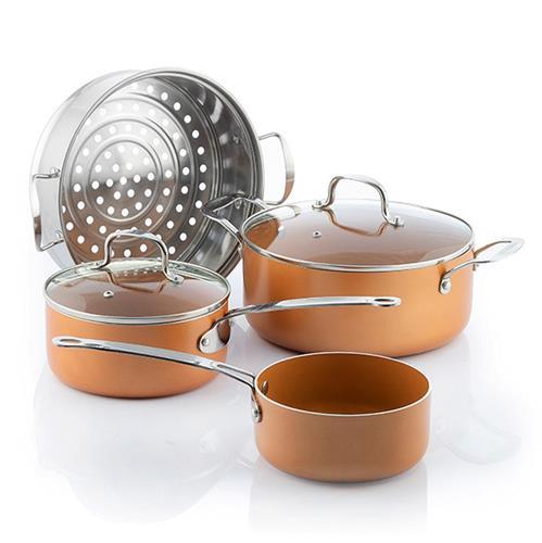 batterie-de-cuisine-avec-cuiseur-vapeur-copper-effect-innovagoods-6-pieces